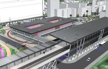 Visão da nova estação ferroviária