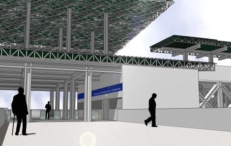 Detalhe da área de embarque e plataforma elevada