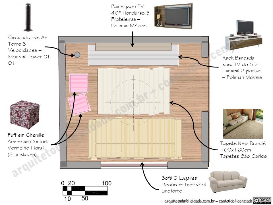 Como Montar Uma Sala De Tv Simples ~ Dicas para montar uma sala de estar pequena  arquitetos da FELICIDADE